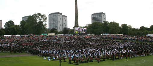 The massed bands at the Worlds at Glasgow Green