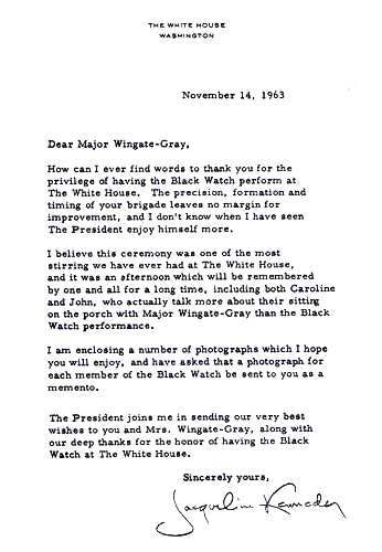 The thank you letter from the First Lady to the Black Watch