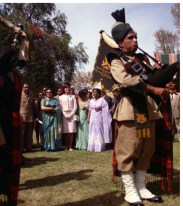 Mrs. Kennedy in Pakistan with the Khyber Rifles Pipers (March 24, 1962)
