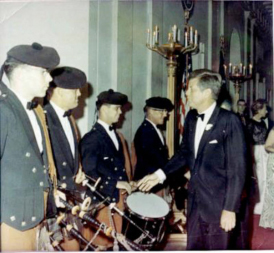 USAF Pipe Band at the White House for the state visit of Irish Prime Minister LeMass (15 Oct., 1963)