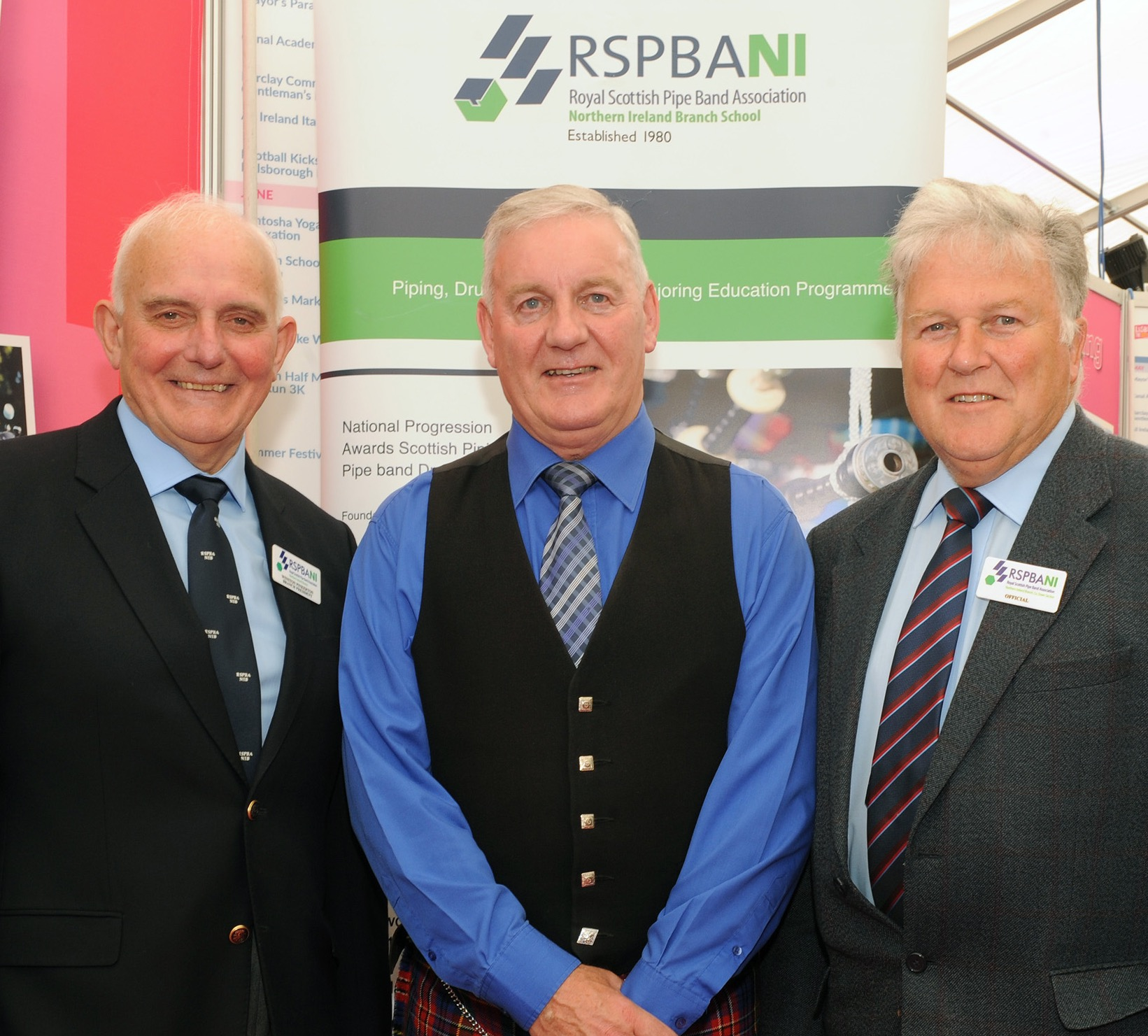 Lowry Ferguson (RSPBANI Vice- President), Winston Pinkerton (RSPBANI President) and Derek Mack (RSPBANI Co Down Section Chairman) pictured at the 'Royal Scottish Pipe Band Association' stand at the Balmoral Show.