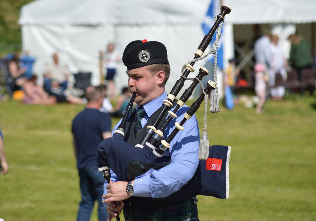 Champion Piper Craig Sutherland in action at Blair Atholl