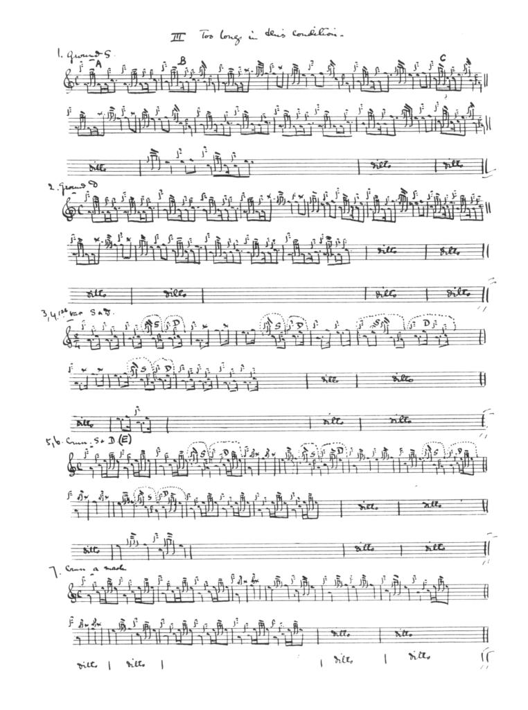 A typical handwritten score from Side Lights